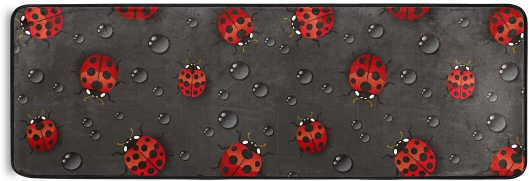 JUAMA Area Rug Red Ladybugs Challenge the lowest price Clearance SALE Limited time with Floor Comfort Mat Waterdrop Bat