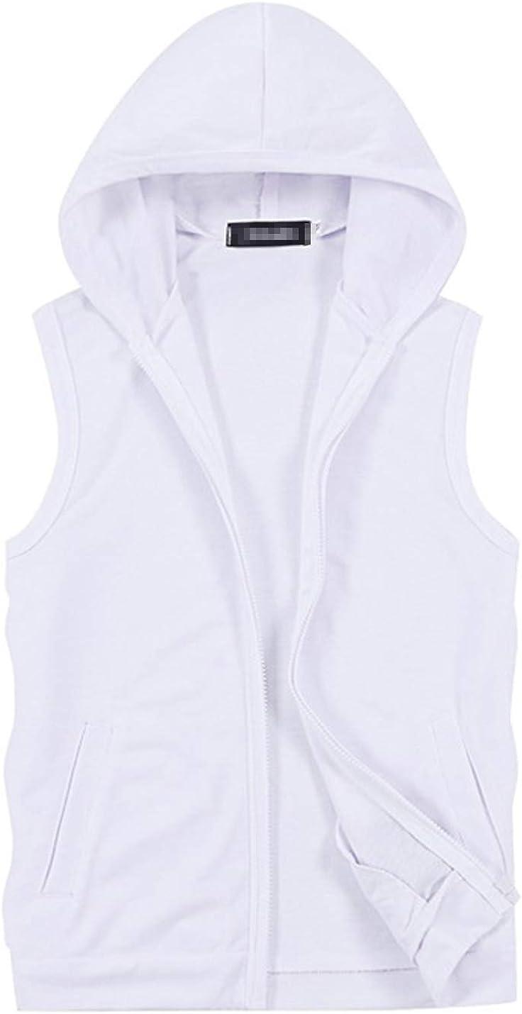 D.B.M Men's Casual Slim Solid Color Vest Jacket Sleeveless Zipper Hoodie