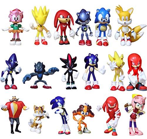 Conjunto figuras Sonic 18 piezas/lote juguete de carácter sónico juguete de PVC juguete de personaje de cola de sombra sónica juguete de carácter para niños juego de juguetes de animales envío gratis