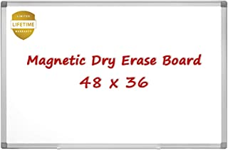 Magnetic Whiteboard/White Board, 48 X 36 Inches Magnetic Dry Erase Board, Silver Aluminum Frame with Detachable Marker Tray