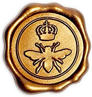Adhesive Wax Seal Stickers 25Pk Queen Bee - Pre-Made from Real Sealing Wax (Gold)