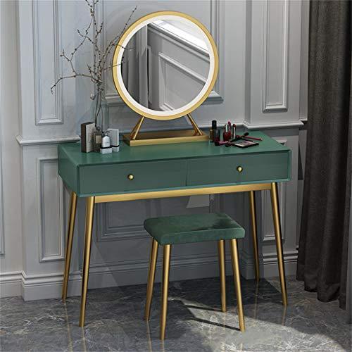 Schminktisch-Set, Kosmetik-Make-up-Tisch mit Hocker und rundem Spiegel Waschtischkonsole Kommode mit 2 Schubladen Schreibtisch Schreibtisch Computertisch Schlafzimmermöbel Mädchen Geschenk