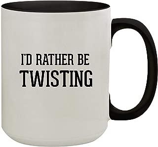 I'd Rather Be TWISTING - 15oz Colored Inner & Handle Ceramic Coffee Mug, Black
