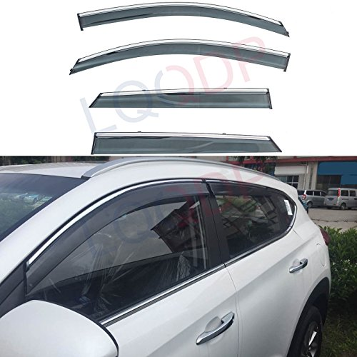 AC WOW 2x Wind Deflectors Compatible with Ford S-MAX 2010 2015 Smoke Tinted Acrylic Glass Door Side Windows Interior In-Channel Visors Rain Snow Sun Guards