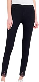 Tootless-Women Stretchable Assymetry Solid Color Lace Split Lenggings Pant