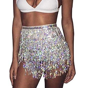 Zoestar Sequin Belly Dance Skirt Tassel Hip Scarf Multilayer Dance Belt Costume Performance Party Skirt Wrap for Women and Girls  Silver