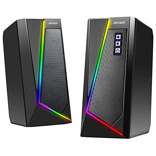 PC Lautsprecher ARCHEER Gaming RGB USB Computer Stereo Lautsprecher LED Beleuchtung Speaker mit Subwoofer Dual Channel Boxen für PC Desktop Laptop Tablet 10W