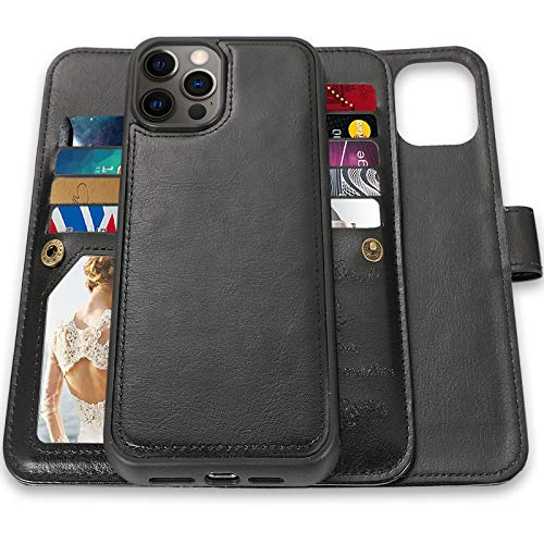 CASEOWL Wallet Case Compatible foriPhone 12 Pro Max, Case WalletMagnetic Detachable2 in 1 Folio Leatherwith 9 Card Slots, Hand StrapCompatible with iPhone 12 Pro Max 6.7 inch 2020(Black)