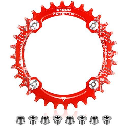 Kettenblatt 104 BCD 32T 34T 36T 38T Schmaler, Breiter Einziger Kettenring mit 4 Stücke Kettenrad Schrauben für Rennräder, BMX MTB Fahrrad (Rot, 32T)