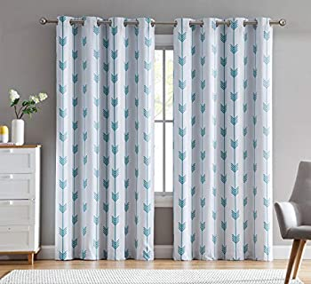 HLC.ME Arrow Printed Privacy Blackout Energy Efficient Room Darkening Thermal Grommet Window Curtain Drape Panels for Kids Bedroom - Set of 2 - Platinum White/Teal Blue - 84  inch Long