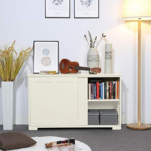 Topeakmart Accent Storage Cabinet with 2 Sliding Doors Adjustable Shelf, Stackable, Entryway Living Room Use, Antique White