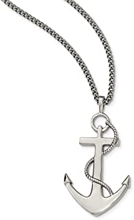 Goldia Stainless Steel IP Black-Plated Laser Cut Cross Necklace