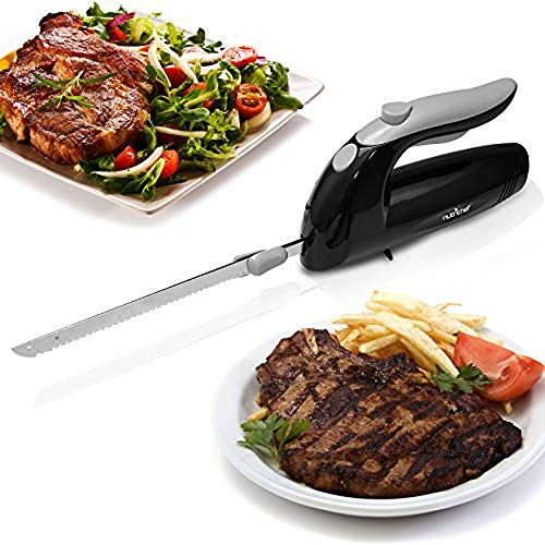 "Upgraded Premium NutriChef Electric Knife - 8.9"" Carving Knife, Serrated Blades, Lightweight, Ergonomic Design Easy Grip, Easy Blade Removal, Great For Thanksgiving, Meat & Cheese, Black - PKELKN8"