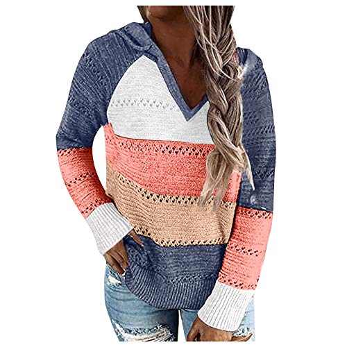 YANFANG Sudadera con Capucha para Mujer de Punto Verano Casual de Color sólido con Cuello en v Manga Larga suéter Blusa Tops Sweatshirt Invierno