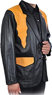 Men's Ostrich Jacket with Lambskin Leather Handcrafted