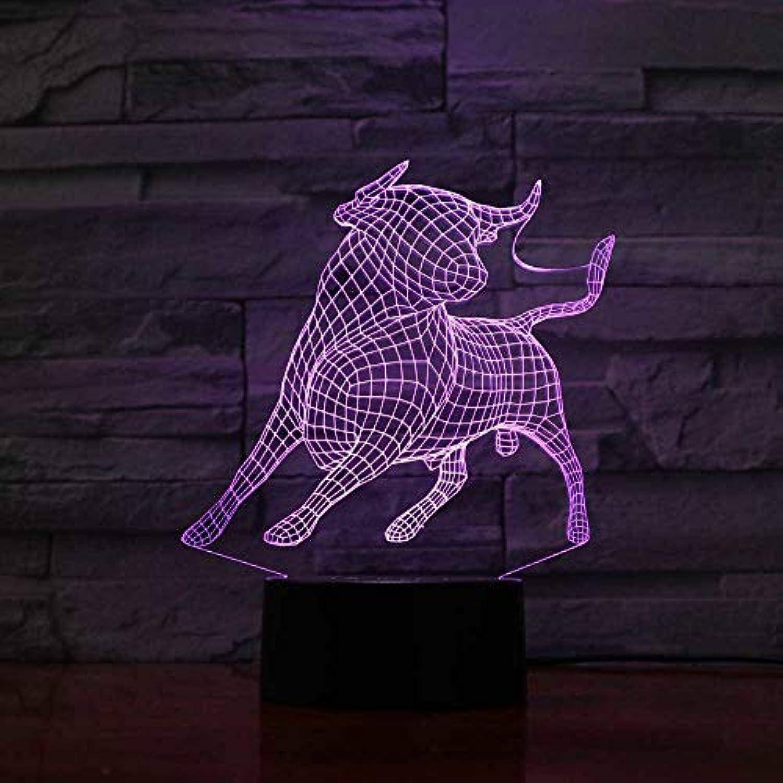 Mozhate 7 Farben ndern 3D Schlafzimmer Dekoration atmosphre Cattle led nachtlicht Tier ox modellierung tischlampe Baby Schlaf Beleuchtung Geschenk,Remote und berühren