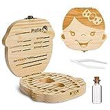 Comius Sharp Caja de dientes de madera para bebés, Contenedor de almacenamiento de dientes para niños, Caja de dientes con pinzas y botella de Lanugo (Girl)