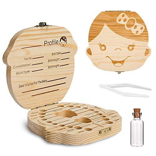 Comius Sharp Hölzerne Babyzahnbox, Aufbewahrungsbehälter für Kinderzähne, Zahnschonbox mit Pinzette und Lanugo-Flasche (Girl)