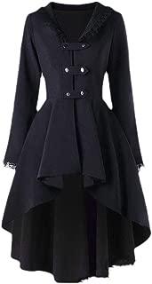 neveraway Womens Mid Long Lace Hem Irregular Retro Strappy Trench Coat Jacket
