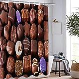 XUSANSHI Duschvorhang Schokolade Digitaldruck Qualität Textil Duschvorhang sehr weich & rutschfest waschbar & schnelltrocknend 180x200 cm
