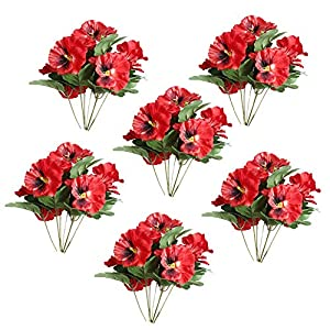 Cratone 6Pcs Artificial Flowers Imitation Pansy Silk Flowers Creative Home Furnishing Simulation Plant for Wedding Home Outdoor Cemetery Party Decoration Size 26cm (F)