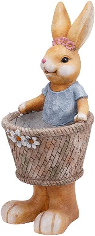 Chicago Mall QTBH Garden Statue Simulation Rabbit Cylinder Max 44% OFF Flower Cour