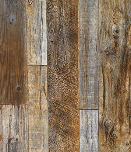 Blooming Wall Barnwood Wood Panel Wood Plank Removable Wallpaper Wall Mural for Livingroom Kitchen Bathroom Bedroom,20.8' x 374', Multicolor (05 Multi-Color)