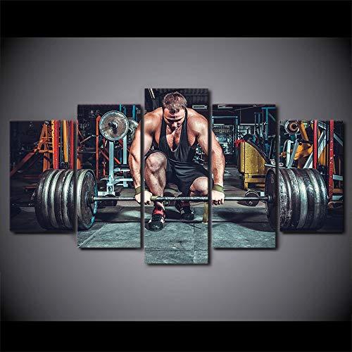 tzxdbh HD Stampato Picture Art Canvas Poster 5 Pezzi Modular Frame Sollevamento Pesi Attrezzature per Il Fitness Camera di Pittura...
