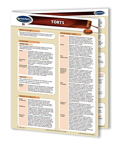 Torts and Tort Law Study Guide - USA - Quick Reference Guide by Permacharts