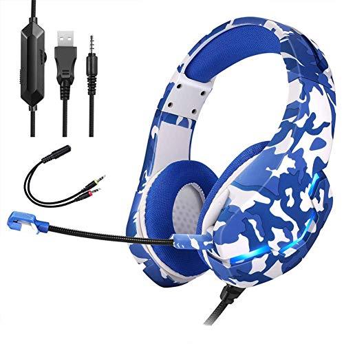 Auriculares de juego para PS4 Xbox One, auriculares estéreo sobre oreja de 3,5 mm Cancelación de ruido de 3,5 mm Cancelación de sonido envolvente con luz envolvente RGB y micrófono ajustable, gris cam