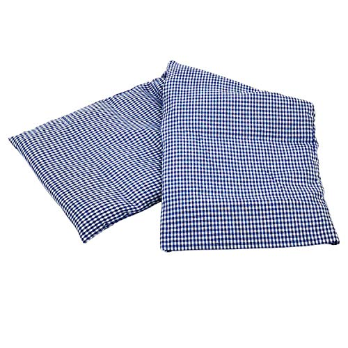 Körnerkissen 60x20 cm Mikrowelle groß für Nacken, Schulter & Rücken Raps-Samen-Körner-Kissen Wärme-Kissen - blau weiß kariert - Karo-Motiv für Damen, Frauen & Mädchen - abnehmbarer Bezug