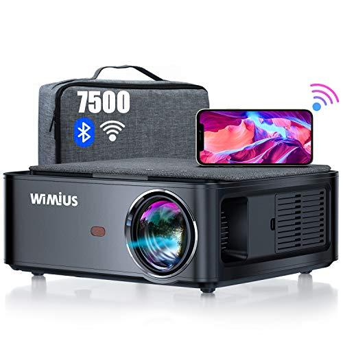 WiMiUS プロジェクター 7500lm WiFi Bluetooth5.0機能搭載 1920×1080ネガティブ解像度 4K対応 4ポイントデータ台形補正 50%ズーム ホーム ビジネス プロジェクター 300インチ大画面 USB/HDMI/AV/3.5mmオーディオ端子対応 スマホ/パソコン/タブレット/ゲーム機/DVDプレーヤーなど接続可能