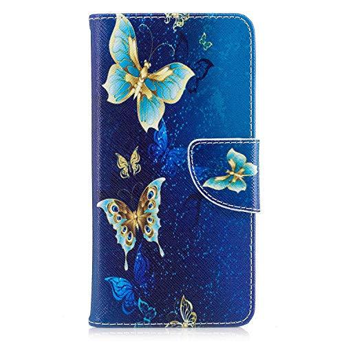 Galaxy A5 2016 Hülle, SONWO Schlanke Flip PU Leder Flip Brieftasche Schutzhülle Hülle mit Stand, Magnetverschluss für Samsung Galaxy A5 2016, Blauer Schmetterling