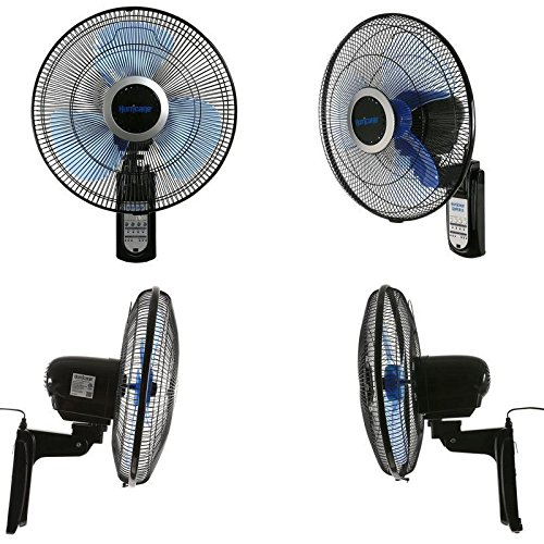 SD Life Wall Mounted Fan Oscillating 16 Inch 3 Speed Remote Control Indoor Outdoor Black