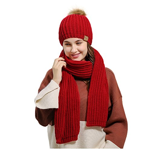 ZFstores Dames gebreide sjaal muts gehaakte muts Warme sjaal en muts set
