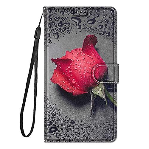 Hülle Leder für Samsung Galaxy A7 2018 Handyhülle, Niedliches Muster Klapphülle Lederhülle mit [360 Grad Stoßfest] [Kartenfachr] Schutzhülle Klappbar Flip Hülle Cover - Rote Rose
