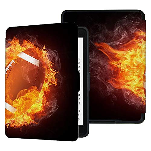 QIYI Folio Case for Kindle Paperwhite Fits All Paperwhite Generations Prior to 2018 (Not Fit All-New Paperwhite 10th Gen) E-Reader Covers PU Leather Smart Cover - Football on Fire