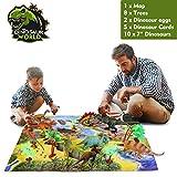 ARANEE Dinosaurios Juguetes Dinosaurio Educativo Juguete para Niños con árboles, Huevos de Dinosaurio, Tarjetas de Aprendizaje y tapete de Juego 26 PCS