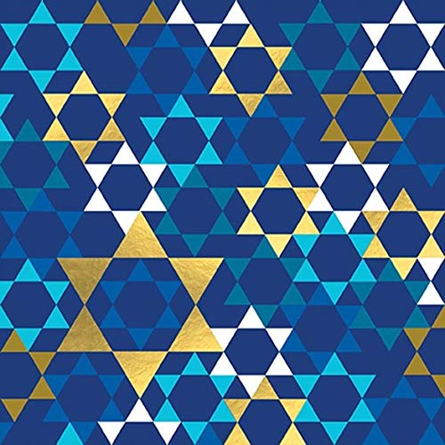 Judaica Cocktail Napkins Decorative Paper Napkins for Jewish Holidays, Hanukkah, Bar Mitzvah, Gold and Blue Stars 5' x 5' Pak 32