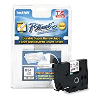 Brother P-Touch - TZ Super-Narrow Non-Laminated Tape for P-Touch Labeler, 1/8w, Black on White TZE-N201 (DMi EA by Brother