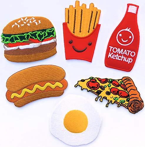 i-Patch - Patches - 0001 - Fast-Food - Pizza - Pommes-Frites - Badges - Hamburger - Burger - Ketchup - Hot Dog - Stickerei - Bügelbild - Sticker - Applikation - Aufnäher - Aufbügler - zum aufbügeln