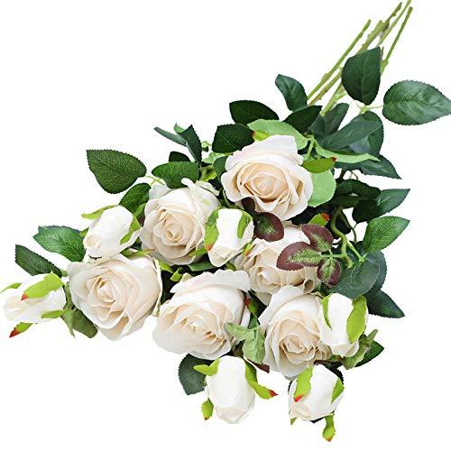 Hawesome 6 rosas artificiales retro, clásicas, de seda, 12 botones, arreglos florales, decoración de mesa, salón, boda, fiesta, oficina, jardín