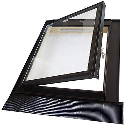 Lucernario per Tetto 74x80 cm (Misura unica) con apertura laterale a Libro con Vetro antigrandine di sicurezza. Telaio in legno e alluminio verniciato. Per tutte le tipologie di tetto - Luce KFALL