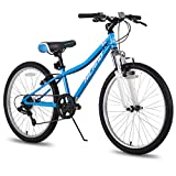 Hiland 24 Inch Mountain Bike for Children with 6-Speed Suspension Fork V Brake Bicycle Blue