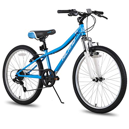 Hiland Climber - Bicicleta de montaña para niños (24 pulgadas, horquilla de suspensión, 6 velocidades, freno en V)