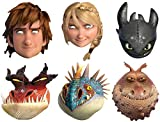 STAR CUTOUTS SMP293 How to Train Your Dragon 2 (Multi 6 Pack- Hiccup, Astrid, Toothless, Monstrous Nightmare, Nadder and Gronckle) Mask, Multicolored, One Size