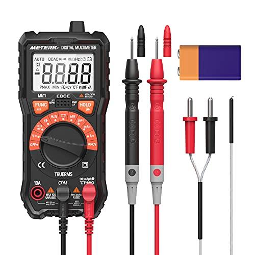 Multimetro Meterk 2000 Range automatico True RMS Digital Intelligent Tester, misurabile AC DC Voltage Current Resistance Condensatore Diodi Transistor NCV Temperatura hFE con batteria interna