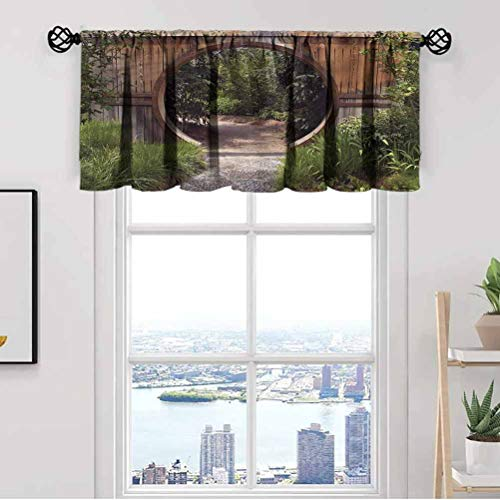 Japanese Window Kitchen Curtain Valance,Rustic Doorway Gate Park Thermal Insulated Tier Valance Curtain for Bedroom Living Room Kitchen,Rod Pocket,Matching with Curtain Panels,42 x 12 Inch, 1 Panels