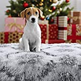 Comeet Soft Fluffy Pet Blanket for Dog Cat, Warm Plush Cover for Puppy Kitten, Faux Sherpa Throw Fuzzy Fur, White Furry Blanket with Dog Foot Print Double Layers Sleep Mat Bed Couch Car 30' x 40'