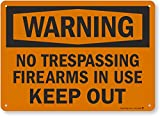 SmartSign - S-8638-AL-14 Warning - No Trespassing, Firearms in Use, Keep Out Sign by | 10' x 14' Aluminum Black on Orange